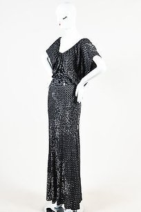 Black Maxi Dress by St. John Silver Knit