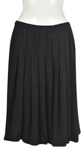 St. John Collection Womens Textured Pleated Wool Knee Length Skirt Black