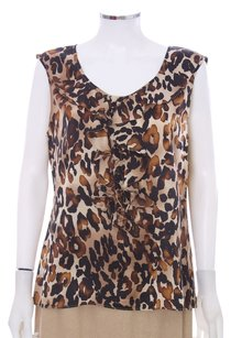 St. John Shimmer Ruffle Tiered Party Festive Wedding Evening Black Tie Classic Animal Print Silk Sleeveless Top Leopard