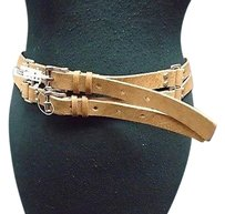 St. John St John Tan Genuine Leather Silver Hardware Double Belt B3496