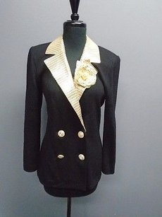 St. John St John Black And Gold Knit Stretchy Double Breasted Blazer Jacket 4349a