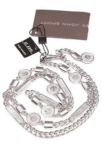 St. John St. John Brushed Rhodium Chain Belt Size Small