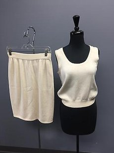 St. John St. John Collection Cream Santana Knit Tank Pencil Basic Skirt Set S6 4324a