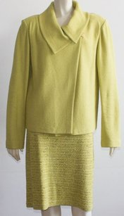 St. John St John Collection Lime Green One Button On Jacket Skirt Suit Xlnt