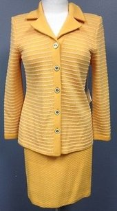 St. John St John Collection Orange Wool Pc Skirt And Blazer Suit Set Sma 7776