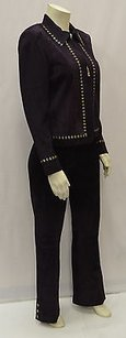 St. John St John Collection Purple Suede Gold Studded Jacket Pants Set 150836me