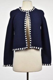 St. John St John Collection Womens Navy Blazer Wool Long Sleeve Career Basic Jacket