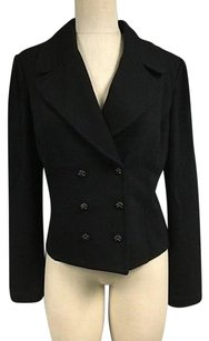 St. John St. John Dark Navy Blue Collared Double Breasted Cropped Blazer Sma11400