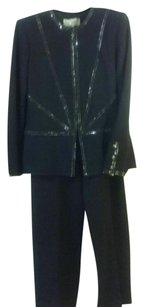 St. John St John Evening Marie Gray Black swarski crystals jacket pants suit