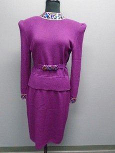 St. John St John Purple Long Sleeved Embellished Thin Knit V Back Skirt Suit 4240a