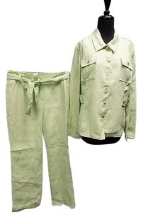 St. John St John Sport Lime Green Wide Leg Belted Pant With Suit Jacket Sma9812