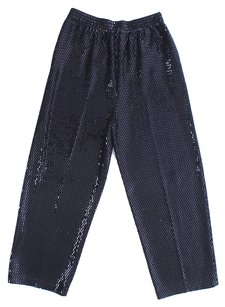 St. John No Stitch Sequin Liquid Evening Sophisticated Stretchy Foil Palliets Trouser Pants Black