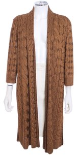 St. John Wool Chain Cable Metallic Cardigan