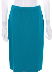 St. John Wool Knit Usa Classic Designor Collection Vented Skirt Teal