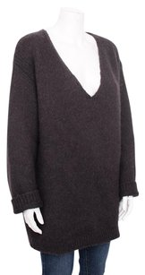 Stella McCartney Charcoal Alpaca Chunky Knit Tunic Vneck 50xl Sweater