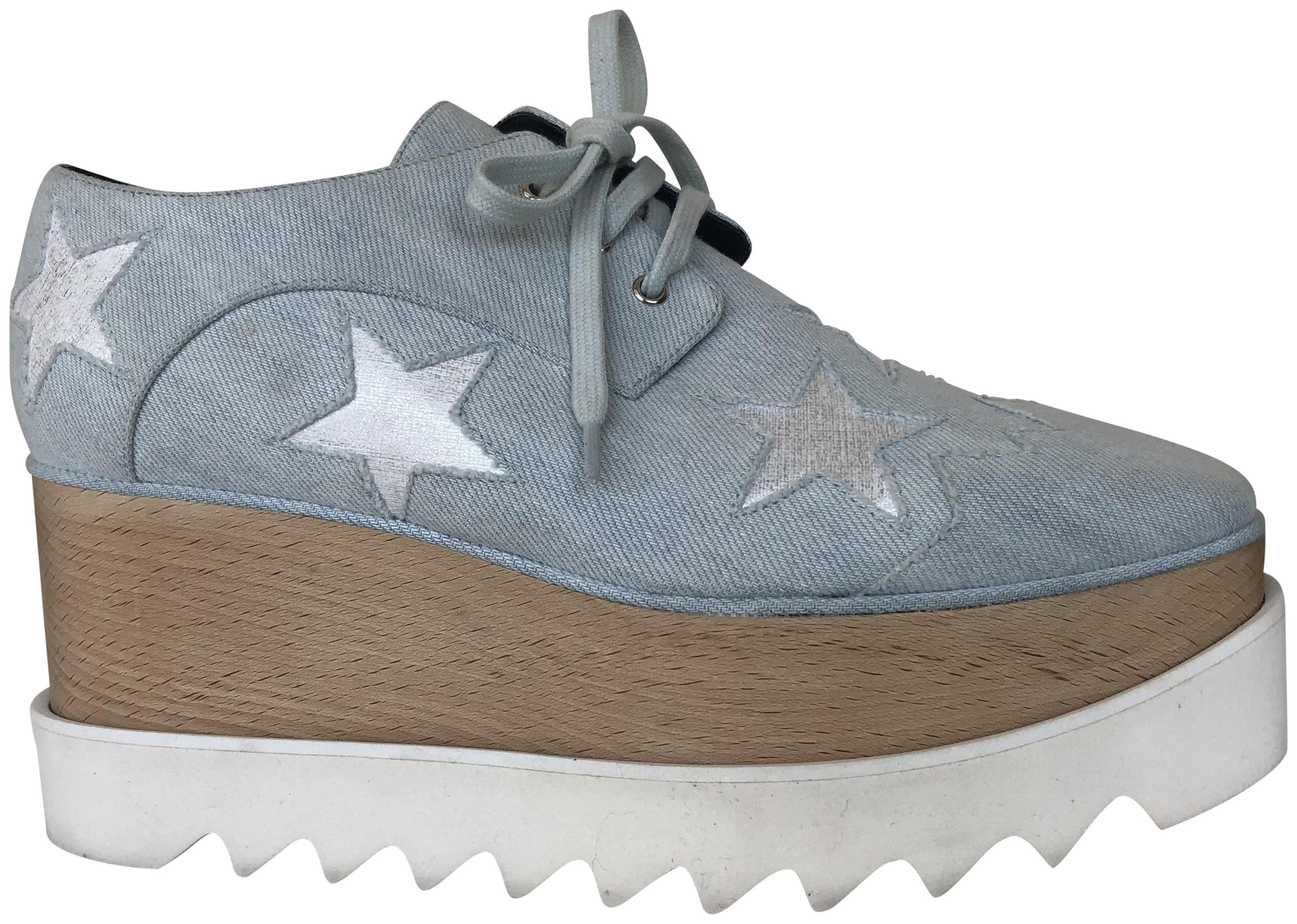 Stella McCartney White/Blue Elyse Oxford Sneakers Platforms Size EU 37 (Approx. US 7) Regular (M, B)