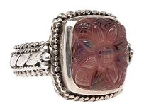 Stephen Yearick Stephen Dweck Women's Sterling Silver (925) Rose Quartz Floral Ring, Size 7