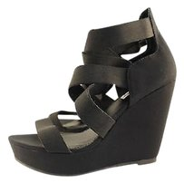 Steve Madden Valine Womens Wedge Sandals Heels Black Platforms