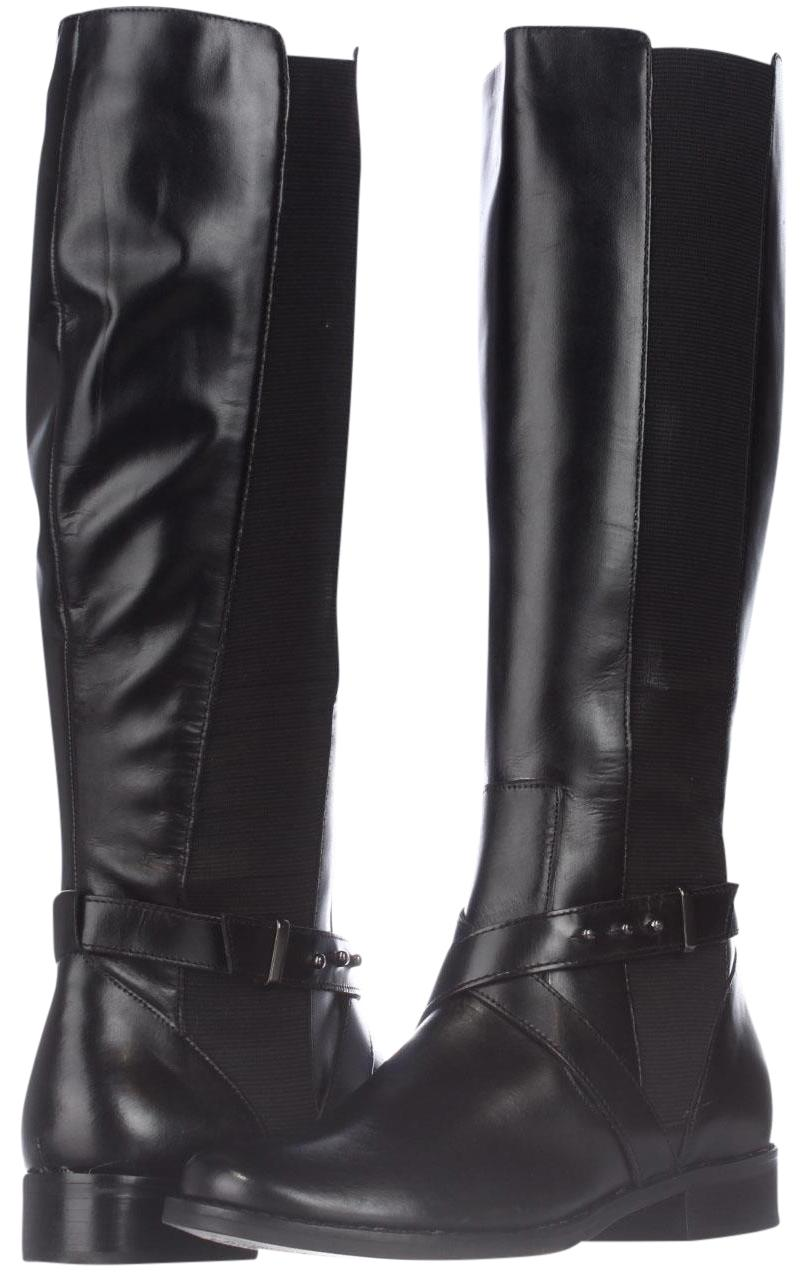 Steve Madden Black Sydnee Wide Calf Riding Boots/Booties Displ Boots/Booties Riding Size US 6.5 Regular (M, B) 20dfae