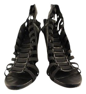 Steve Madden Streche Womens Strappy Heels Leather Black Pumps
