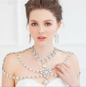 Wedding Bridal Silver Crystal Shoulder Body Chain Tassel Necklace Jewelry Set