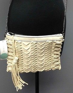 Street Level Leather Rope Detail Tassel Accent Zip Close B2766 Beige Clutch