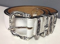 Streets Ahead Streets Ahead White With Etched Silver Tone Hardware Front Buckle Belt B3495