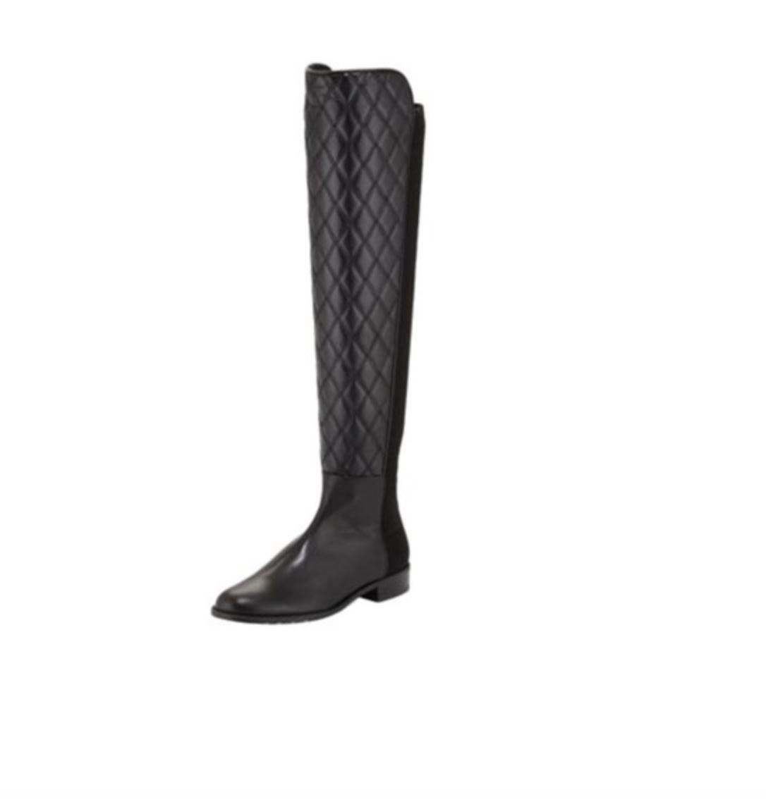a741153c6669 ... Stuart Weitzman Black Black Black Quilt Boots 50 50 Over The Knee Boot  Flats Size US ...