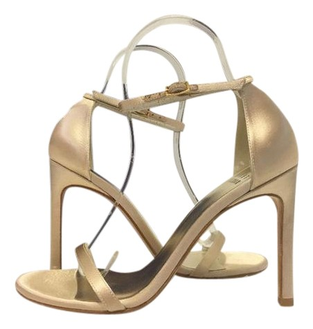 Stuart Weitzman High Designer Blonde Satin Sandals ...