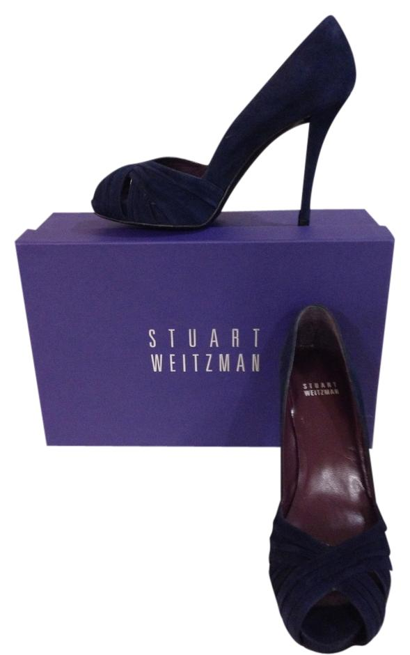 "Stuart Weitzman Blue ""Dressage"" Suede Pumps Size US 6 Regular (M, B)"