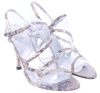 Stuart Weitzman Leather Snakeskin SILVER Sandals