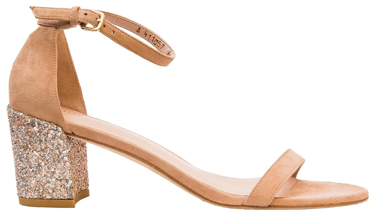 Stuart Weitzman Natural Simple Glittered Nubuck Sandals Size US 9.5 Regular (M, B)