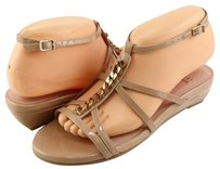 Stuart Weitzman Tiffy Patent Designer Strappy Wedge 4.5 Adobe Aniline Sandals