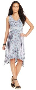 Style & Co short dress Blue, White Hankerchief Hi Lo Pullover Sleeveless Embellished on Tradesy