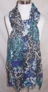 Style & Co Scarf Wrap Casual Shades Of Blue Floral Rayon Cotton By Style Co 26x78