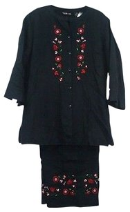 Style & Co Style Co Black Red Pink Green Embroidered Pant Suit B80