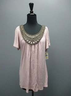 Style & Co And Short Sleeved Black And Gold Applique Sm4477 Top Pink