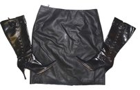 STYLED BY SAM SABOURA Leather Pleather Skirt BLACK