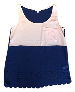 StyleMint Navy Tank Top Blue and coral Pink