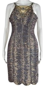 Sue Wong Womens Blue Gold Dress