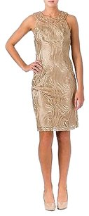 Sue Wong Gold Embroidered Dress