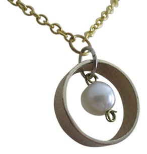 Summer C Circle of Love Gold Ring with Pearl Pendant Necklace 18