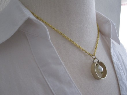 "Summer C Circle of Love Gold Ring with Pearl Pendant Necklace 18"" Long - Simple & Elegant"