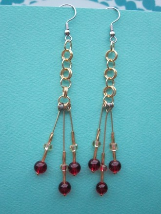 SummerMatcha Audrey - Deep Ruby Red Beads and Gold Double Linked Ring Drop Earrings