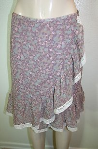 Sundance Purple Pink Floral Skirt Multi-Color