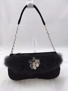 Swarovski Suede Fur Trim Crystal Embellished Evening Black Clutch