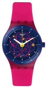 Swatch System Unisex Blue Date Dial Rubber Band Pink Watch SUTR401