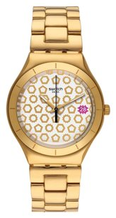 Swatch Women's Bullone White Dial Gold-tone Stainless Steel Watch YGG405G