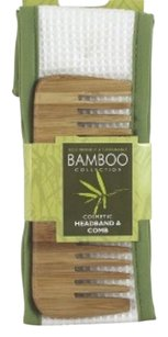 SWISSCO SWISSCO Eco Friendly & Sustainable BAMBOO Collection: Green & White Cosmetic / Facial Headband and Wide Tooth Bamboo Comb Set: Green & Earth Friendly Products