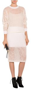 T by Alexander Wang Sheer White Knit Skirt Cream